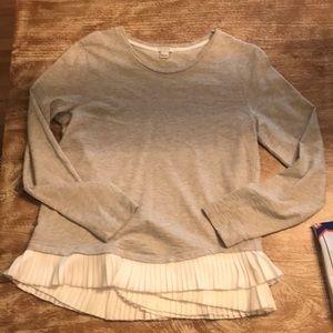 J crew sweatshirt with ruffle bottom